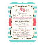 Coral, Aqua, & White Stripes Baby Shower 13 Cm X 18 Cm Invitation Card