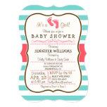 Coral, Aqua, & White Stripes Baby Shower 13 Cm X 18 Cm Invitation Card