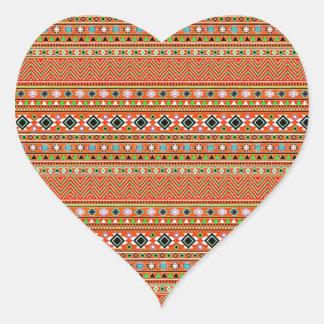 Coral Aztec Style Southwestern Pattern Heart Sticker