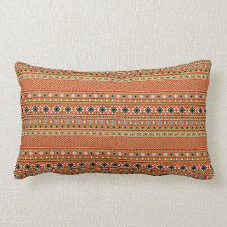 Coral Aztec Style Southwestern Pattern Lumbar Cushion