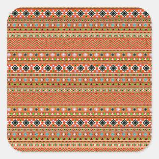 Coral Aztec Style Southwestern Pattern Square Sticker