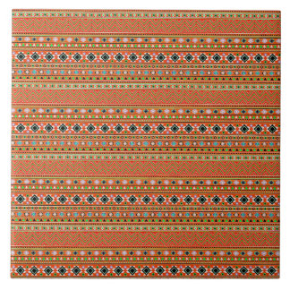 Coral Aztec Style Southwestern Pattern Tile