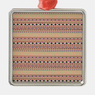 Coral Aztec Tribal Pattern Christmas Ornament
