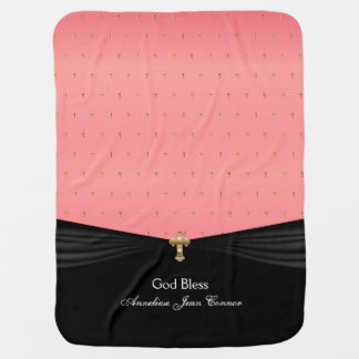 Coral Baby Christening | Baptism | Gold Crosses Swaddle Blankets