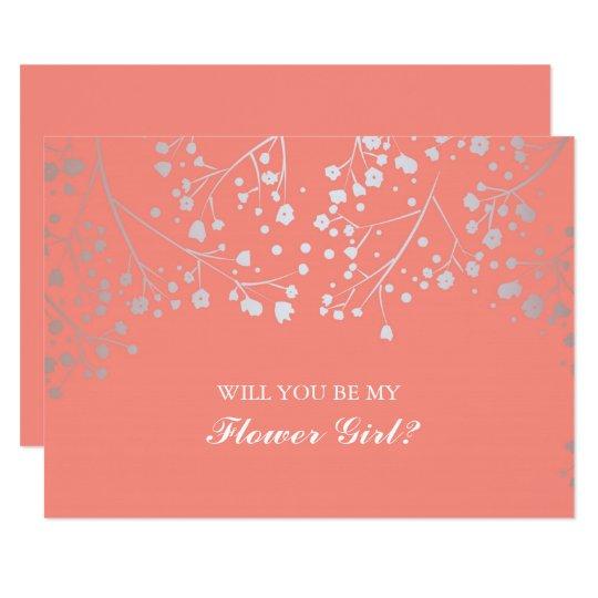 Coral Baby's Breath Wedding Flower Girl Invitation