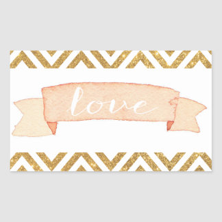 Coral Banner Gold Chevron Love Sticker