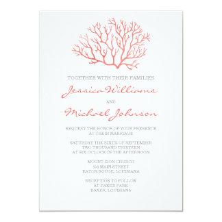 Coral Beach Wedding 13 Cm X 18 Cm Invitation Card