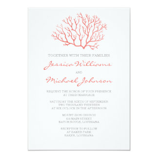 Coral Beach Wedding Card