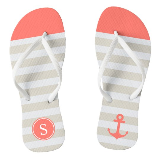 Coral Beige Strips - Cute Nautical Anchor Monogram