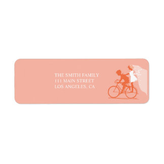 Coral Bicycle Couple Wedding Return Address Label