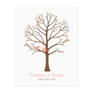 Coral Birds Brown Fingerprint Tree Wedding Canvas Print