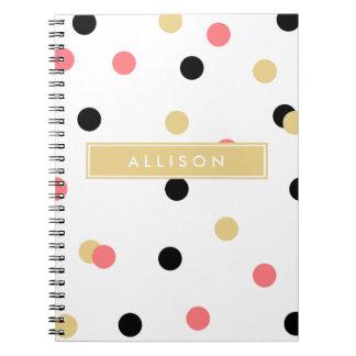 Coral Black and Gold Polka Dot Monogram Notebook