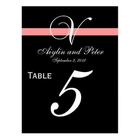 Coral Black Initial V Wedding Table Number Cards