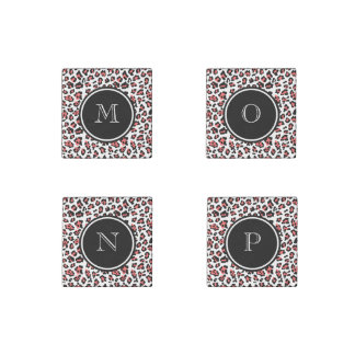 Coral Black Leopard Animal Print with Monogram Stone Magnet