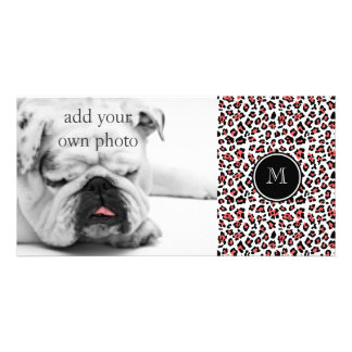 Coral Black Leopard Animal Print with Monogram Photo Card Template