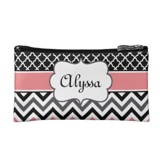 Coral Black Quatrefoil and Chevron Personalised Makeup Bag