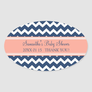 Coral Blue Chevron Baby Shower Favor Stickers