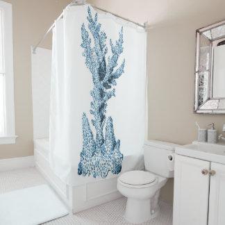 Coral blue coastal ocean watercolor shower curtain