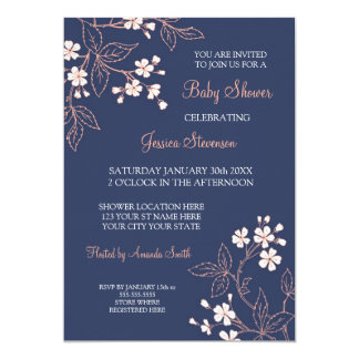 Coral Blue Floral Custom Baby Shower Invitations