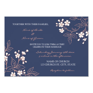 Coral Blue Floral Wedding Invitation Cards