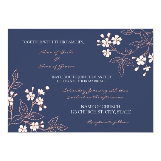 Coral Blue Floral Wedding Invitation Cards