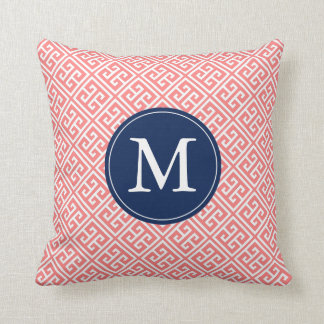 Coral Blue Greek Key Pattern Monogram Cushion