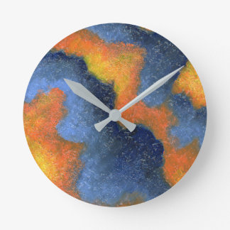 Coral Blue & Orange Round Clock