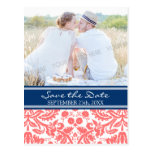 Coral Blue Photo Save the Date Wedding Postcards