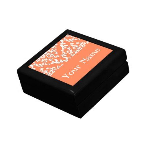 Coral Bold Damask w/ name @ Emporiomoffa Keepsake Box