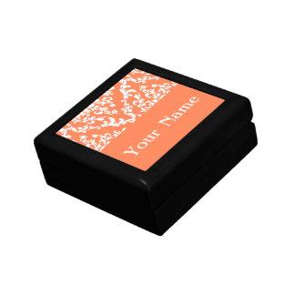 Coral Bold Damask w/ name @ Emporiomoffa Small Square Gift Box