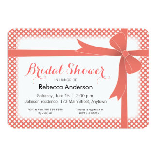 Coral Bow & White Dots Bridal Shower 13 Cm X 18 Cm Invitation Card