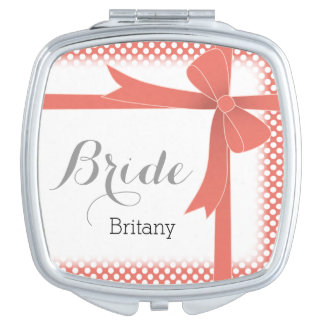 Coral Bow & White Dots Personalized Bride Vanity Mirror