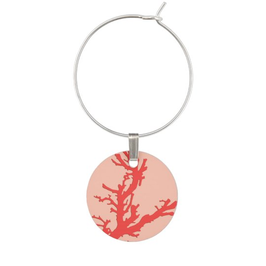 Coral branch - shades of coral orange wine glass charm