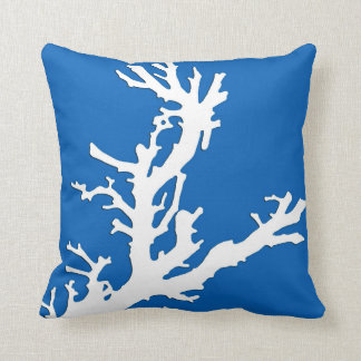 Coral branch - white on cobalt blue cushion