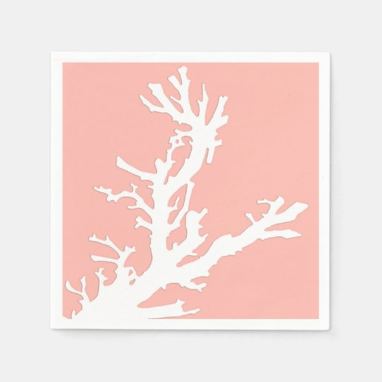 Coral branch - white on coral pink paper