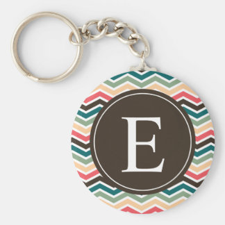 Coral Brown Teal Chevron Monogram Key Ring