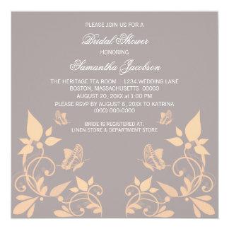 "Coral Butterfly Floral Bridal Shower Invite 5.25"" Square Invitation Card"