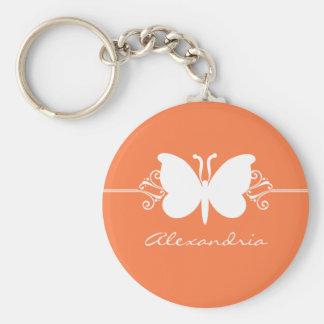 Coral Butterfly Swirls Keychain