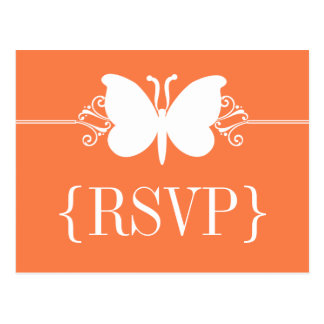 Coral Butterfly Swirls RSVP Postcard