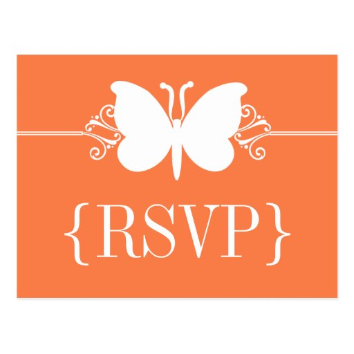 Coral Butterfly Swirls RSVP Postcard