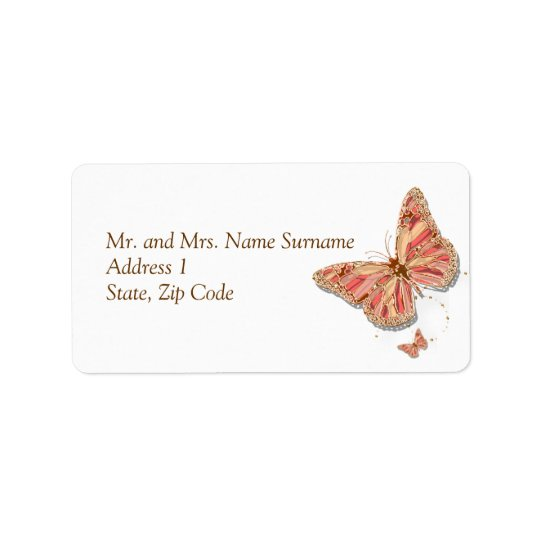 Coral butterfly theme wedding label