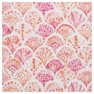 CORAL CAMO Fish Scale Mermaid Scallop Watercolor Fabric