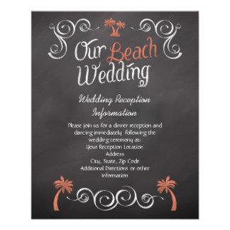 Coral Chalkboard Beach Wedding Reception Insert 11.5 Cm X 14 Cm Flyer