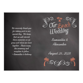 Coral Chalkboard Script Beach Wedding Program 21.5 Cm X 28 Cm Flyer