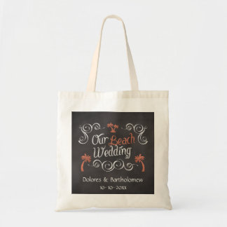 Coral Chalkboard Script Beach Wedding Budget Tote Bag