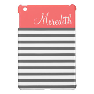 Coral & Charcoal Preppy Stripes Custom Monogram iPad Mini Cover