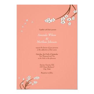 """Coral Cherry Blossom Wedding Invitations 5"""" X 7"""" Invitation Card"""