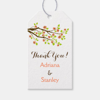 Coral cherry blossoms spring wedding Thank You Gift Tags