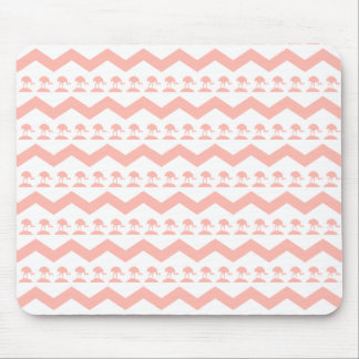 Coral Chevron and Birds Pattern Mouse Pad