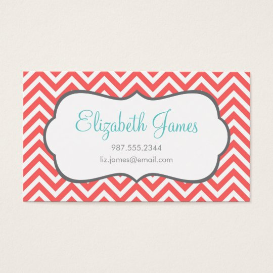 Coral Chevron Business Card